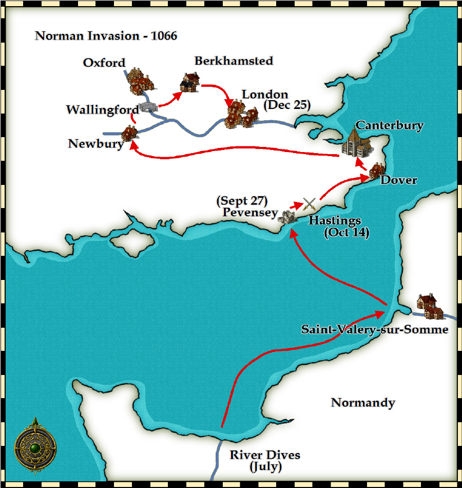 The invasion route taken by William the Conqueror